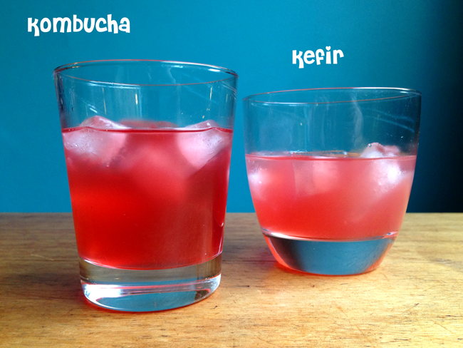Picture of a glass of kombucha and a glass of kefir.
