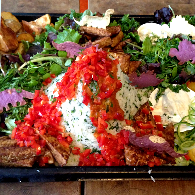 Picture of mixed salad with tempeh, olives, featuring a mountain of rice shaped like a volcano erupting tomato sauce and a bunch of crackers shaped like dinosaurs in the background.